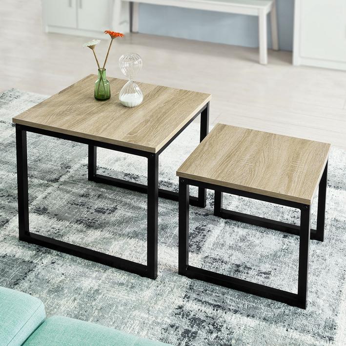 Details About So Set Of 2 Wood Nesting Coffee Table Living Room Side End Fbt42 N Uk