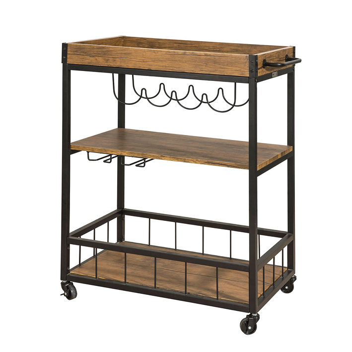Bentley Industrial Metal And Wood Wheeled Kitchen Serving: SoBuy Industrial Vintage Wood Metal 3 Tiers Kitchen