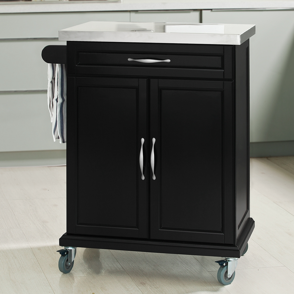 Wood Kitchen Trolley Cart Stainless Steel Rubber Wood Mdf