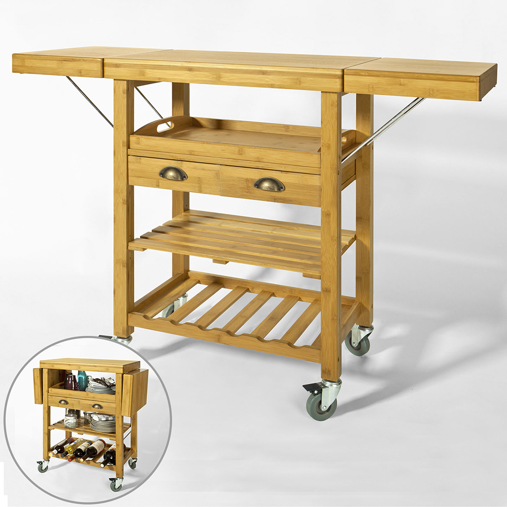 SoBuy® Bamboo Kitchen Trolley Cart with Folding Hinged Side Boards ...