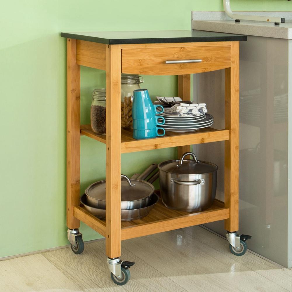 SoBuy® Servierwagen,Küchenwagen mit Granitarbeitsplatte
