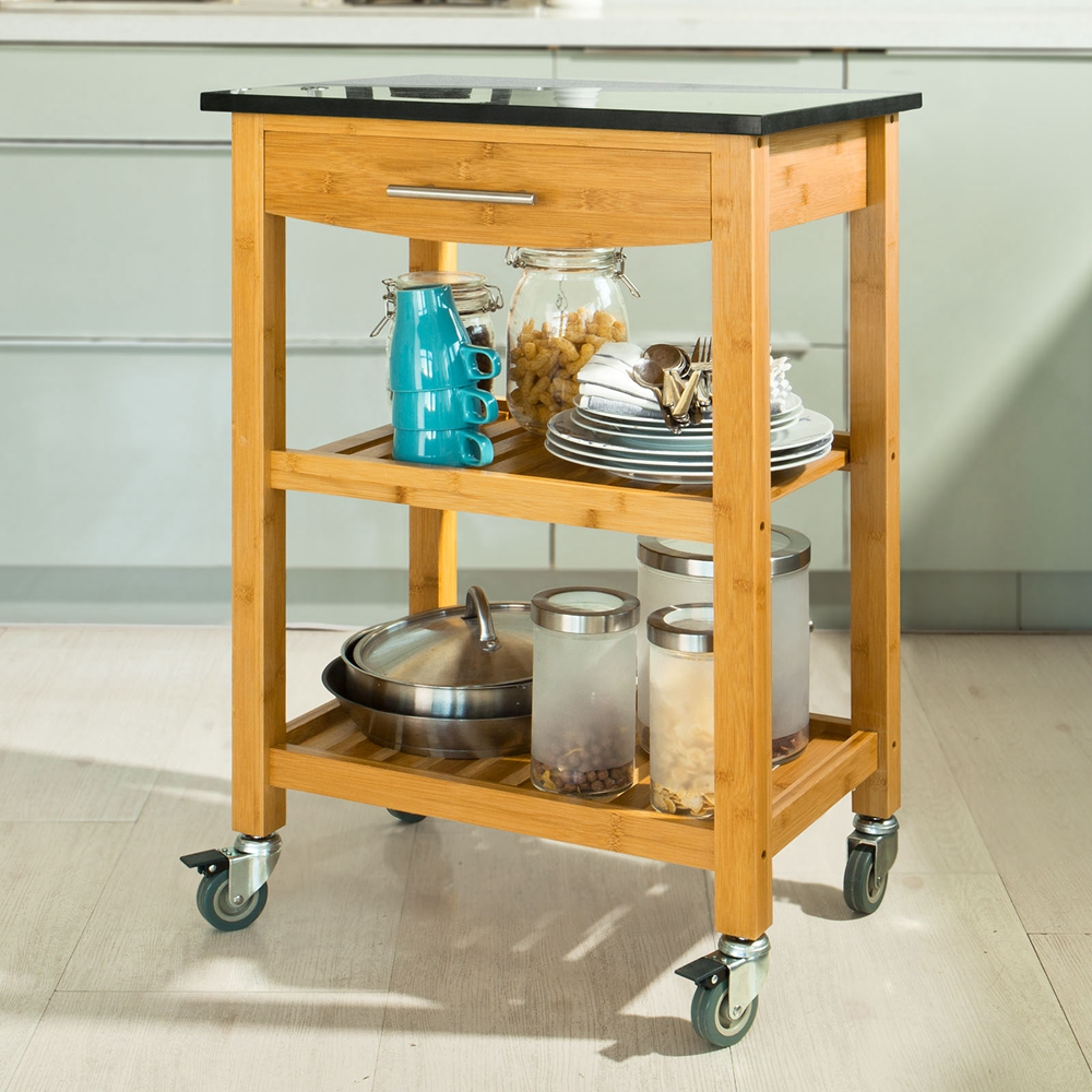 SoBuy Bamboo kitchen Trolley Cart with Black Granite Worktop, FKW28 ...