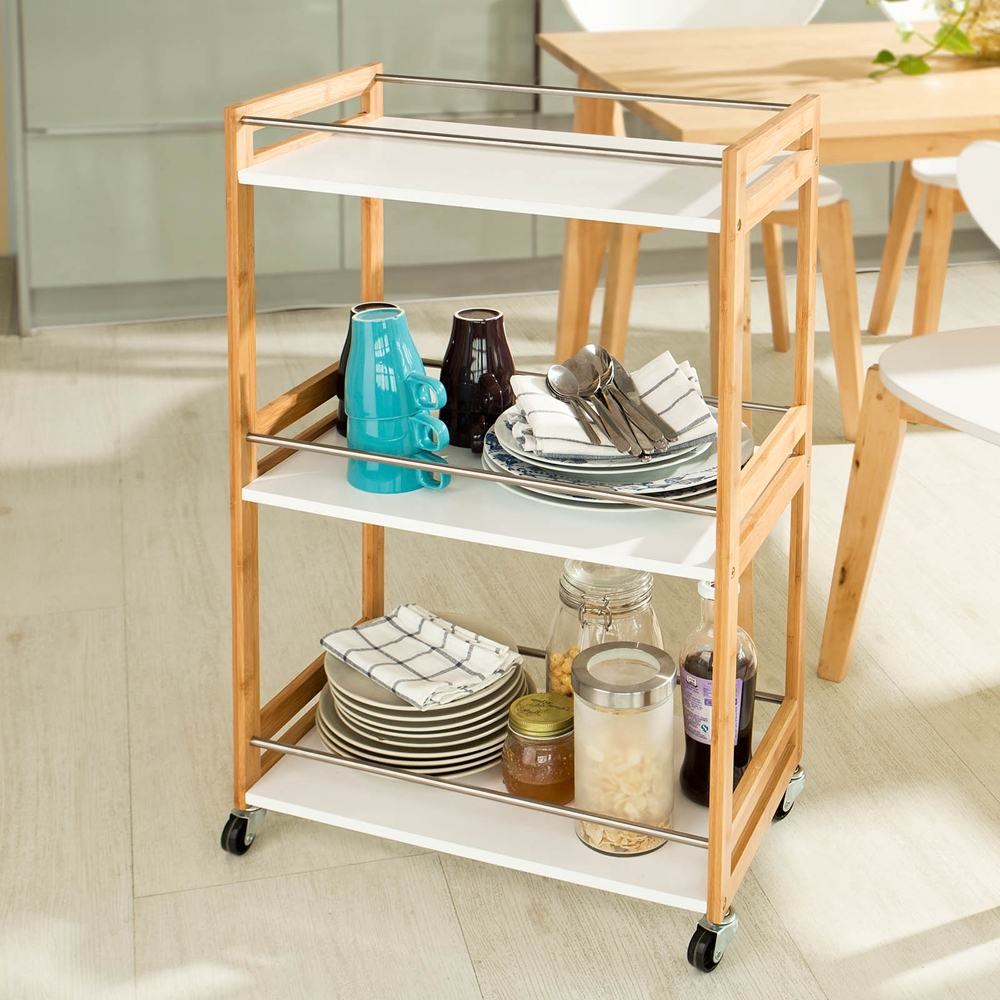 SoBuy® 3 Tiers Kitchen Shelf, Kitchen Trolley Cart, Bathroom Shelf ...