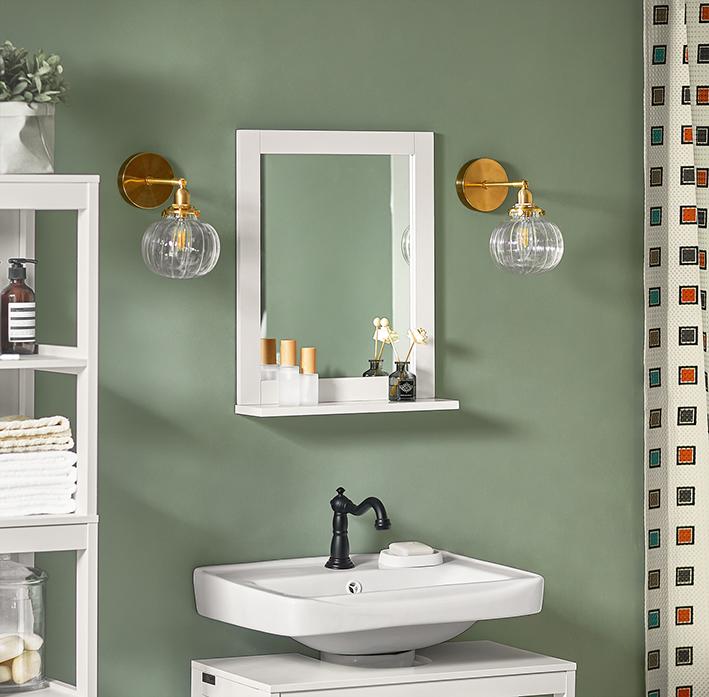 Sobuy Wood Wall Bathroom Mirror With Shelf Bathroom Storage Rack