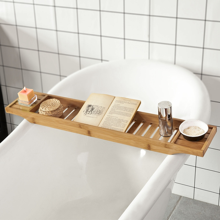 Sobuy 174 L80 Cm Bamboo Bathtub Rack Caddy Tray Bathroom