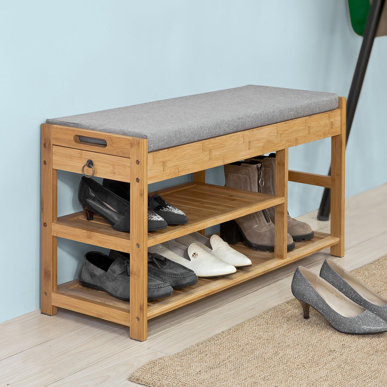 Easy Living Footwear Junction Fair Home: SoBuy® Padded Hallway Shoe Storage Rack Bench Seat With