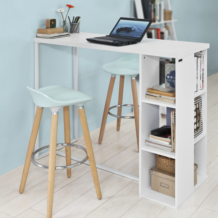 Sobuy bancone bar da casa tavolo cucina altezza 105 cm bianco fwt39 w it ebay - Altezza tavolo da cucina ...