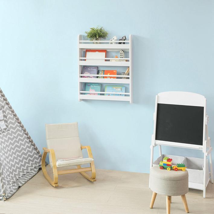 sobuy kinderregal b cherregal f r kinder wandregal h ngeregal wei kmb08 k w ebay. Black Bedroom Furniture Sets. Home Design Ideas