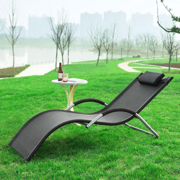 Détails sur SoBuy® Transat de Jardin Chaise Longue Bain de Soleil - Noir  OGS38-SCH,FR