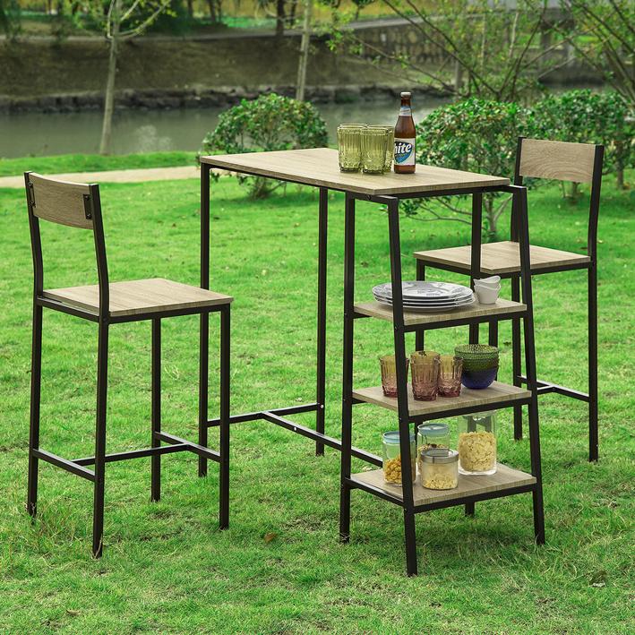 Dettagli su SoBuy Set Tavolo e sedie da Bar,Penisola Cucina Mobile,Altezza:100 cm,OGT16 N,IT