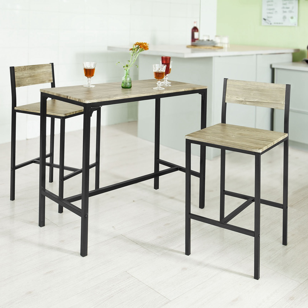sobuy ensemble table de bar 2 chaises table haute cuisine. Black Bedroom Furniture Sets. Home Design Ideas